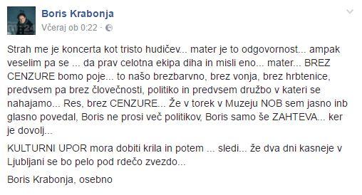 Vir: Facebook profil Borisa Krabonje