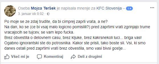 Primer pritožbe na Facebook profilu KFC Slovenija.