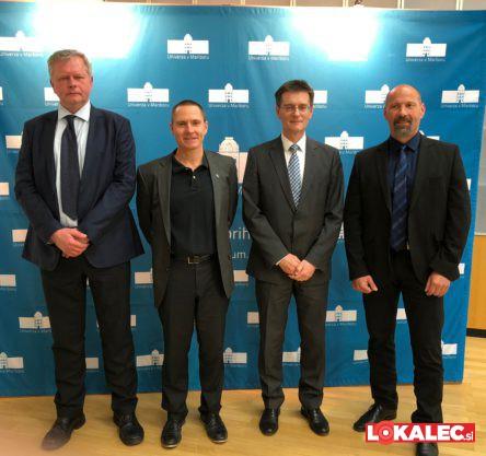 Kandidati za rektorja Univerze v Mariboru (z leve proti desni): Jernej Turk, Žan Jan Oplotnik, Zdravko Kačič in Niko Samec.