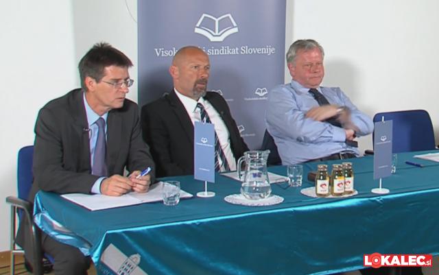 Kandidati za rektorja mariborske univerze (z leve proti desni): Zdravko Kačič, Niko Samec, Jernej Turk.