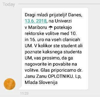 SMS sporočilo, s katerim je lobirala Mlada Slovenija, podmladek Nove Slovenije.