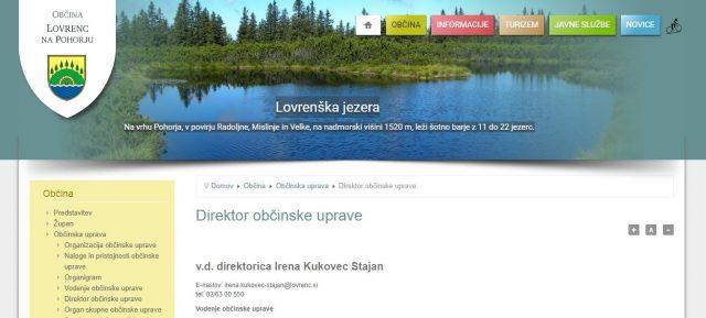 Objava na spletni strani Občine Lovrenc na Pohorju na dan 28.8.2018. Vir: lovrenc.si