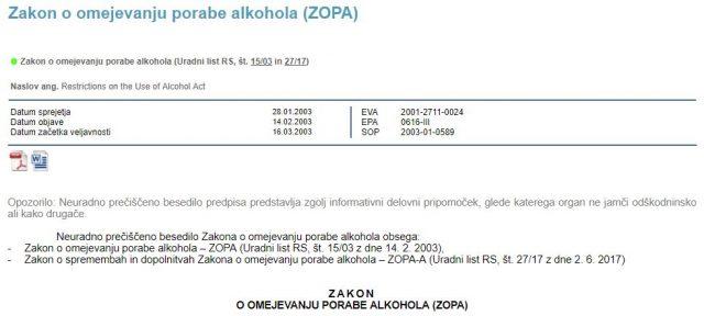 Datumi sprejema, veljavnosti in sprememb Zakona o omejevanju porabe alkohola, t. i. Kebrovega zakona. Vir: www.pisrs.si