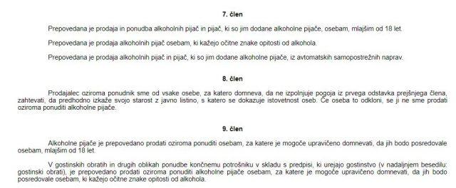Členi Zakona o omejevanju porabe alkohola, ki opredeljujejo ukrepe v zvezi z mladoletnimi osebami ipd. Vir: www.pisrs.si