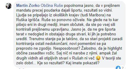 Komentar občana na uradni Facebook strani Občine Ruše