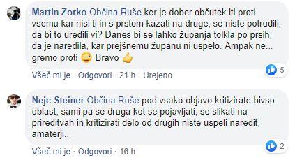 Komentarja občanov na Facebook strani Občine Ruše
