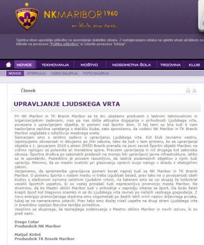 Dopis iz uradne strani NK Maribor