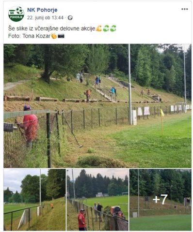 Objava na družbenem omrežju o uspešno izpeljani akciji urejanja stadiona. Vir: Facebook stran NK Pohorje