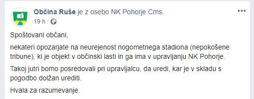 Objava na uradni Facebook strani Občine Ruše