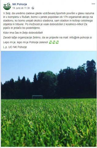 Poziv NK Pohorje na družbenem omrežju za urejanje okolice in košnjo trave. Vir: Facebook