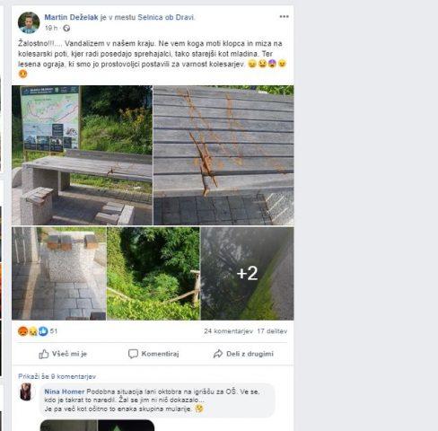 komentarji na FB - uničenje klopi na Jabolčni poti
