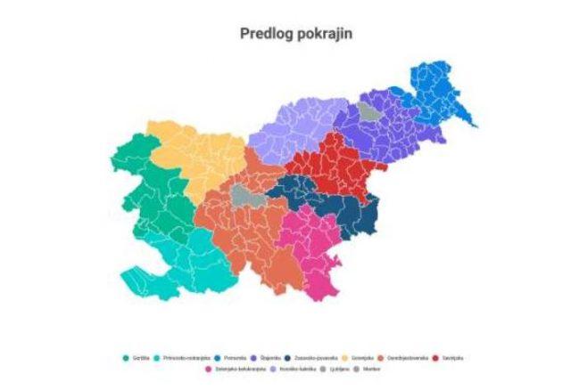 Zadnji predlog, ki se je izoblikoval znotraj širše strokovne skupine pod vodstvom Boštjana Brezovnika, predvideva ustanovitev desetih pokrajin s posebnim statusom mestnih občin Ljubljana in Maribor. Predvidoma bi začele delovati leta 2023, v celoti pa bi zaživele do leta 2030. Vir: STA