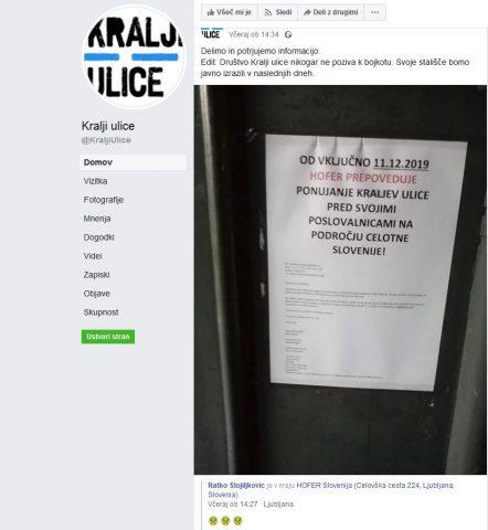 Hofer prepovedal prodajo časopisa Kralji ulice. Vir: Facebook, Kralji ulice