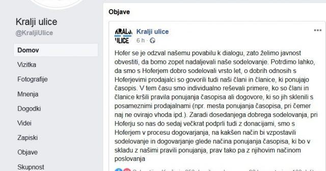 Kralji ulice in podjetje Hofer Slovenija pripravljeni na dialog. Vir: Facebook, Kralji ulice